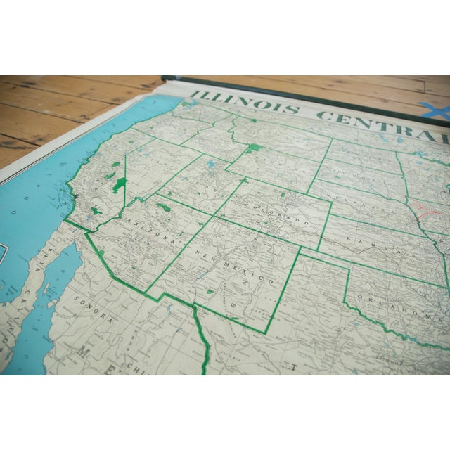 Paper Vintage Illinois Central Railroad Pull Down Map For Sale - Image 7 of 12