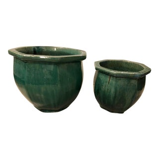 Glazed Earthenware Pots- A Pair For Sale