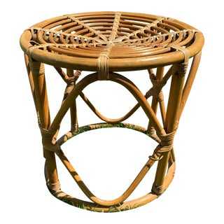 Vintage Boho Round Rattan & Bamboo Side Table / Plant Stand For Sale