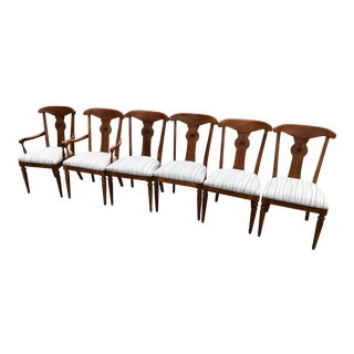 Ethan Allen French Country Crossings Cinnamon Maple Dining Table Chairs - Set of 6 For Sale