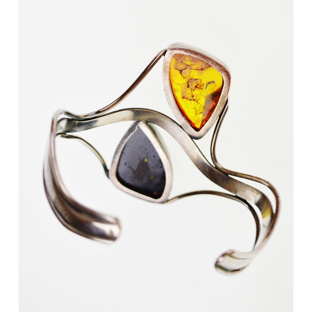 Vintage Sterling Silver Cuff Bracelet With Amber Stones For Sale - Image 10 of 11