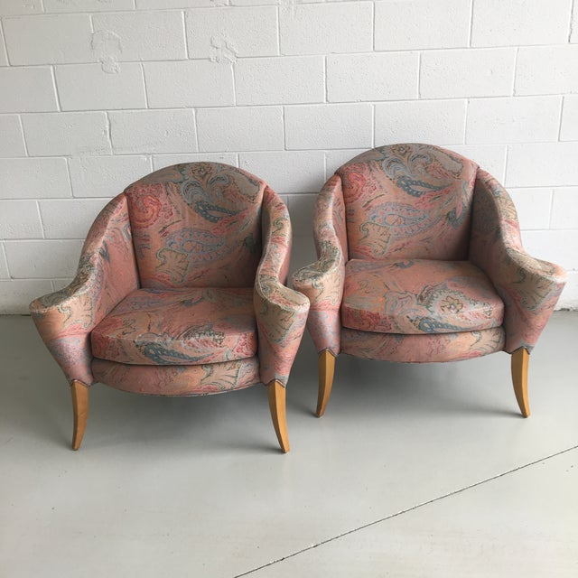 Fabulous vintage 90s Thayer Coggin Design Studio lounge chairs. Chairs are large and comfortable with amazing lines. The...