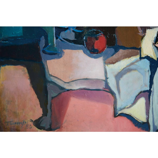 1956 Mid-Century Modern Abstract Oil Painting Signed Trump For Sale - Image 4 of 7