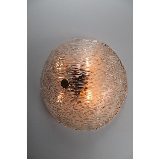 Round Modernist Textured Ice Glass Flush Mounts By Kalmar Austria For Sale - Image 10 of 12