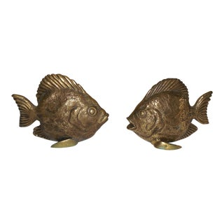 Vintage Cast Brass Fish- A Pair