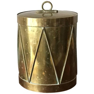 Vintage Italian Brass Drum Ice Bucket For Sale