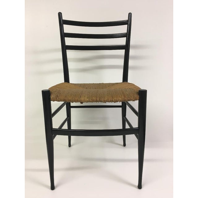 Traditional 1960s Vintage Chiavari Rush Seat Ladderback Spinetto Dinning Chairs- Set of 4 For Sale - Image 3 of 10