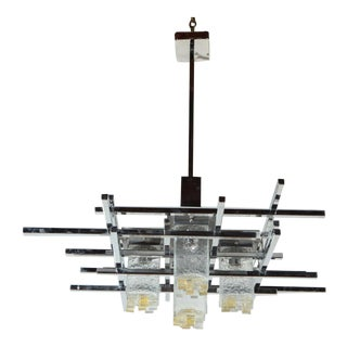 Vintage Abstract Italian Glass & Chrome Chandelier For Sale