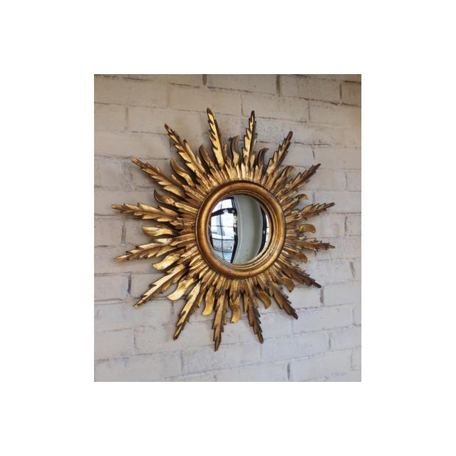 French Midcentury French Double Layer Sunburst Mirror With Original Mirror Glass For Sale - Image 3 of 10