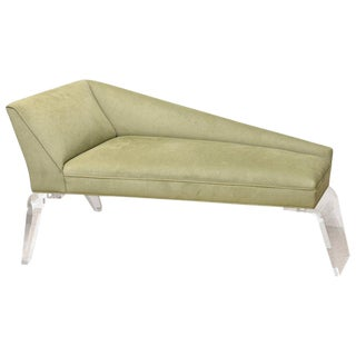Haziza Lucite and Upholstered Sculptural Chaise Lounge / Settee For Sale