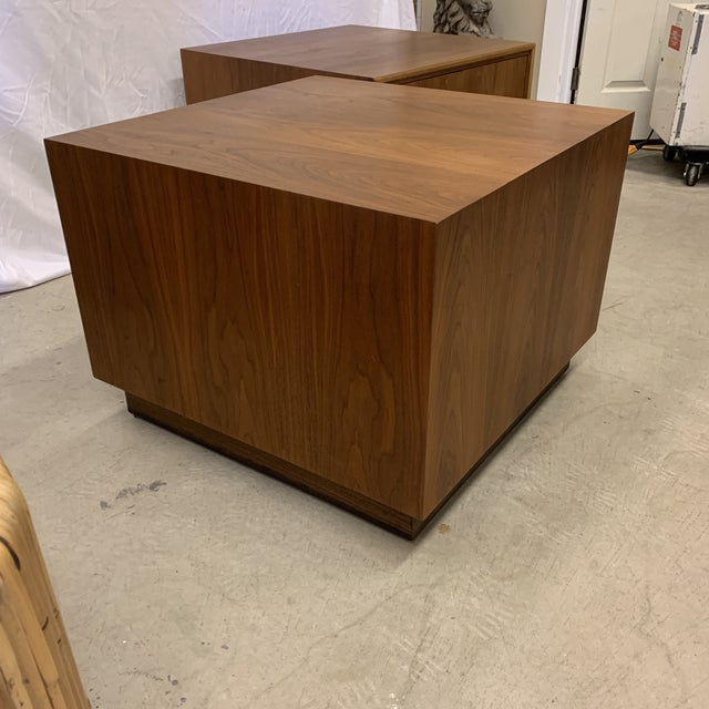 Metal Solid Walnut Asian Chest End Tables -A Pair For Sale - Image 7 of 11