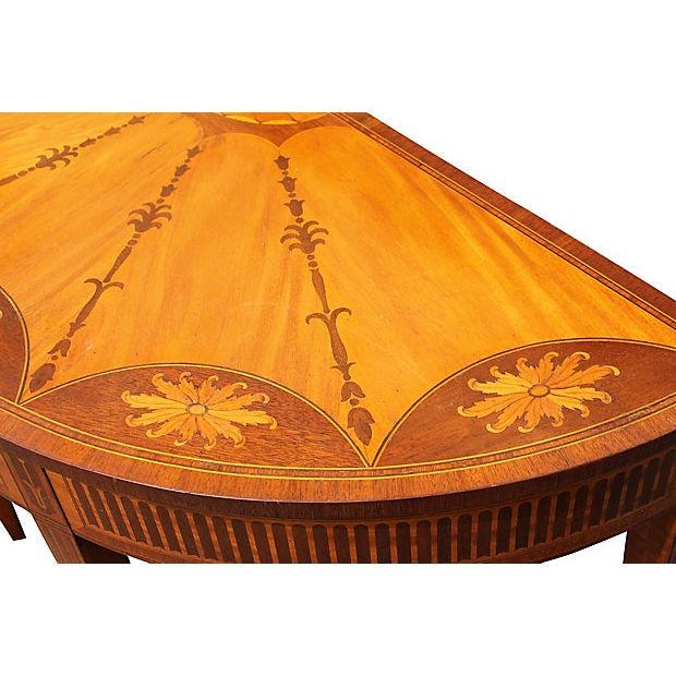 Wood Inlay Demilune Console Table - Image 8 of 9