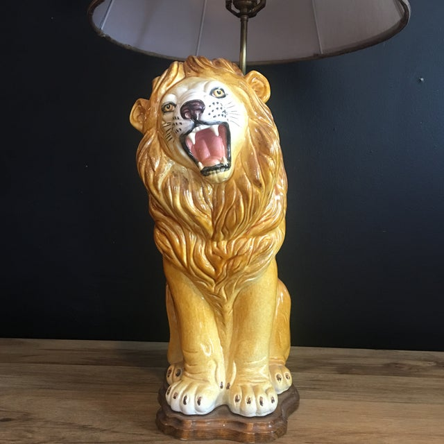 Art Deco Large Italian Hand-Painted Porcelain Lion Sculpture Mounted Lamp For Sale - Image 3 of 12