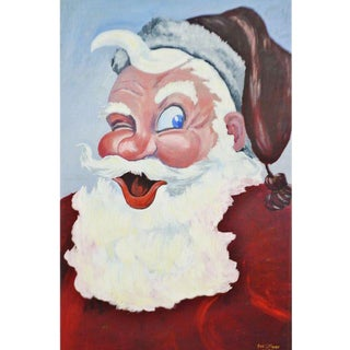 1953 Vintage Signed Santa Claus Painting For Sale