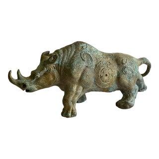 1960s Rhinoceros Metal Sculpture For Sale