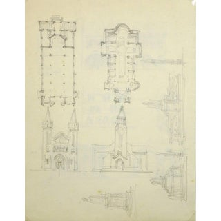 French Pencil Drawing of Church For Sale