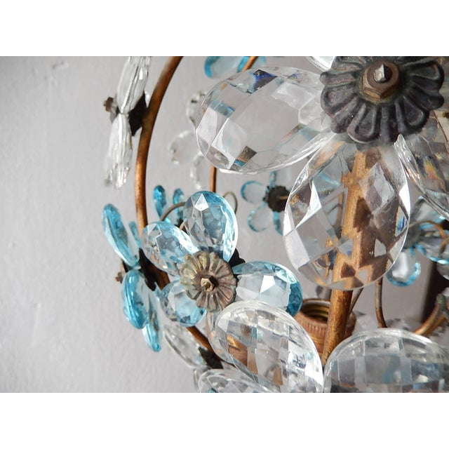 French Aqua Blue Flower Ball Crystal Prisms Maison Baguès Style Chandelier For Sale - Image 10 of 11