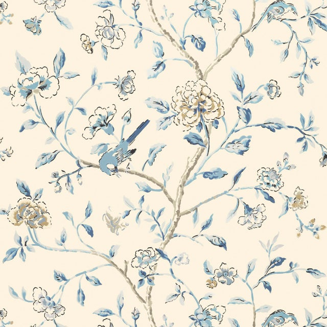 Contemporary Schumacher Annabelle Vine Wallpaper in Porcelain For Sale - Image 3 of 3