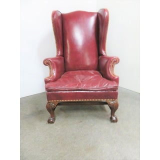 Chippendale Eagle Carved Leather Wing Chair Preview