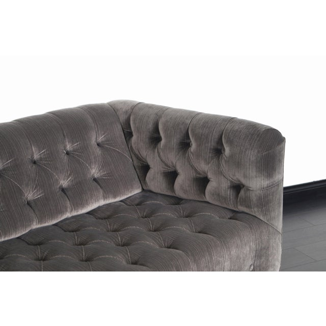 Metal Vintage Tufted Chrome Sofa by George Kasparian For Sale - Image 7 of 10