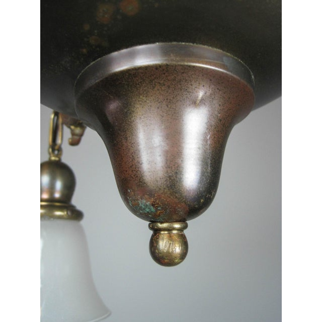 Art Glass Original Arts & Crafts Bowl Light Fixture For Sale - Image 7 of 11