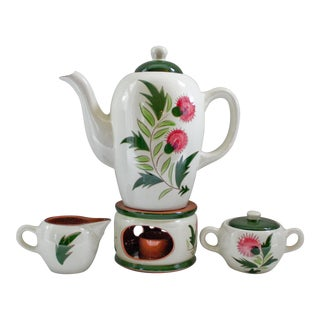 Mid-Century Stangl Redware Pottery Teapot on Stand With Creamer & Sugar - Pink Thistle Pattern For Sale