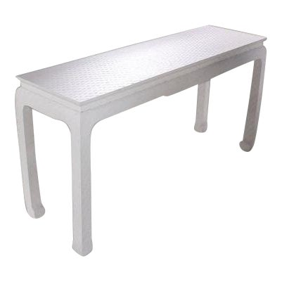 Grass Cloth Covered White Lacquer Console Sofa Table by Baker For Sale