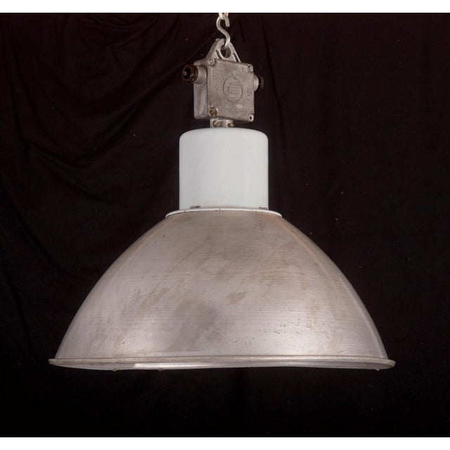 Large Czech Industrial Hanging Lamp in Gray, 1960s For Sale - Image 4 of 8