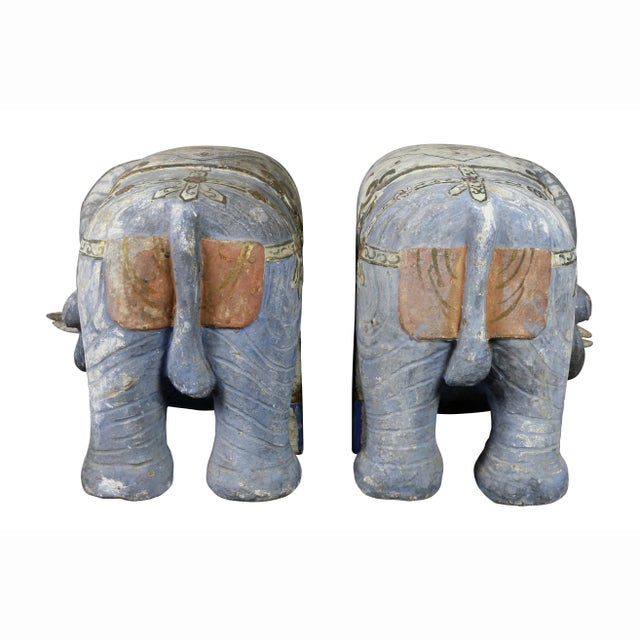 Wood Chinese Painted Wood Elephants on Brackets - a Pair For Sale - Image 7 of 13