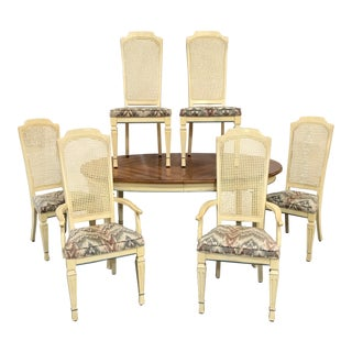 1960s French Country Cane Back Dining Set - 7 Pieces For Sale