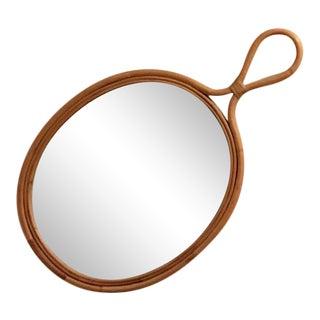 Mid Century Franco Albini Rattan Wall Mirror For Sale