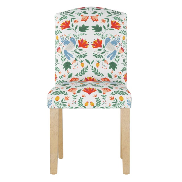 Textile Camel Back Dining Chair in Nordic Bird White Oga For Sale - Image 7 of 7