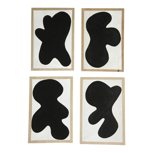 Black Abstract Monochrome Critters Wall Paintings - Set of 4 For Sale - Image 8 of 8