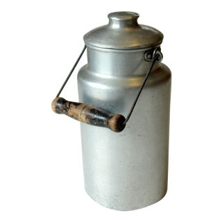 1950s Milk Can Made of Aluminium With Wooden Handle For Sale