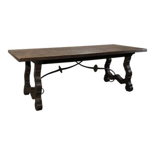 Antique Spanish Oak & Wrought Iron Dining Table For Sale
