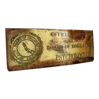 Vintage Industrial Brass Sign- City of Chicago Education Psychologist For Sale