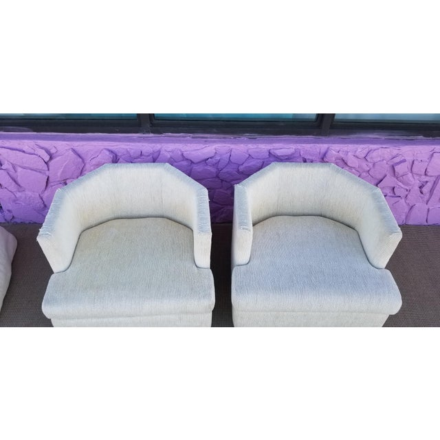 Hollywood Regency Vintage Geometric Back Swivel Chairs- a Pair For Sale - Image 3 of 13