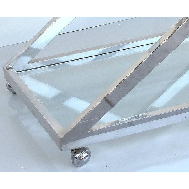 1950s Mid-Century Modern Nickel-Plated Tea Trolley or Bar Cart For Sale - Image 5 of 9