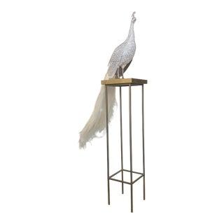 Contemporary Swarovski Albino Peacock by Clarita Brinkerhoff For Sale