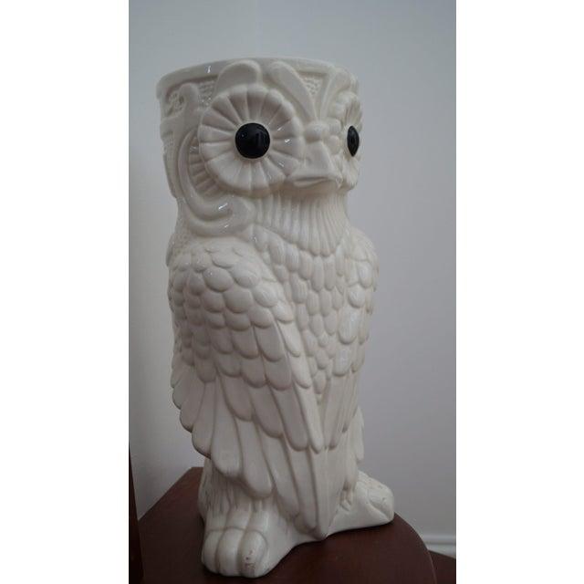 1980s Art Deco White Ceramic Owl Vase - Image 5 of 5