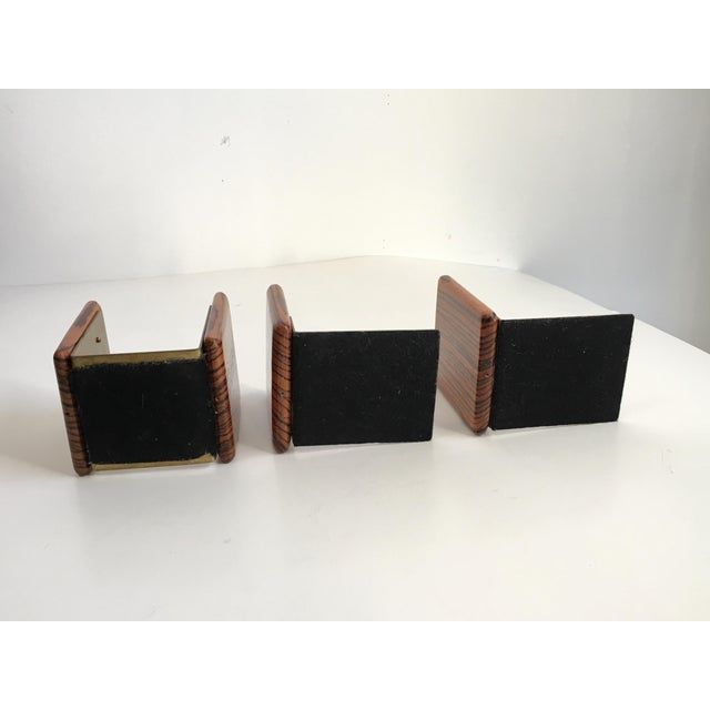 Zebra Wood and Brass Desk Set with Bookends - Set of 3 For Sale - Image 6 of 7