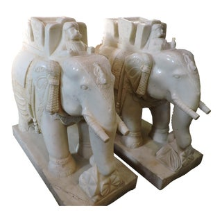 Pair of Magnificent White Marble Elephants With Riders For Sale