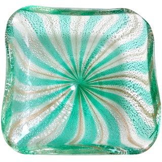 Vintage Mid Century AVeM Murano Green Silver Aventurine Flecks Italian Glass Bowl For Sale