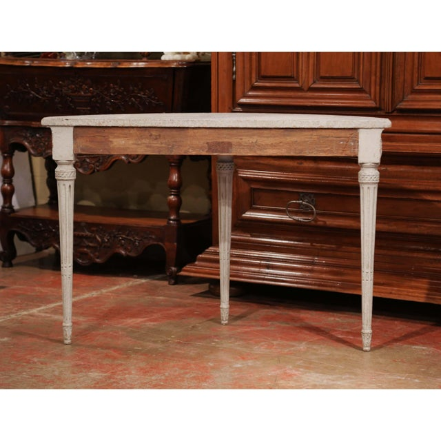 White Pair of 19th Century Louis XVI Carved Painted Demi-Lune Console Tables For Sale - Image 8 of 9