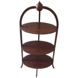 19th Century English Oval Three-Tier Side Table Muffin Stand For Sale