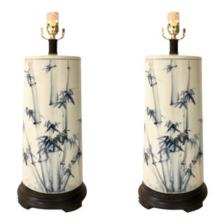 Currey & Co. Asian Modern Blue and White Porcelain Fatima Table Lamps Pair For Sale