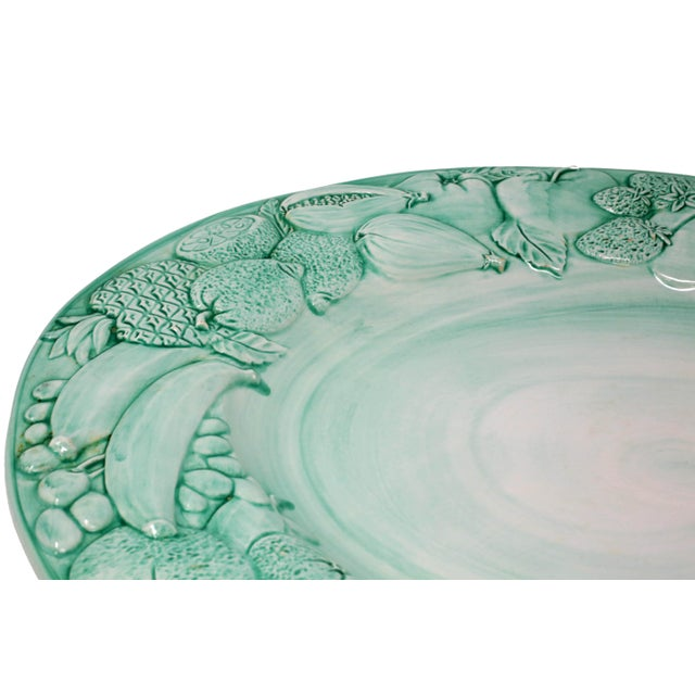 """Vintage Italian Majolica Ceramic Large 20"""" Hand-Painted Green Fruit Platter Italy For Sale - Image 9 of 13"""