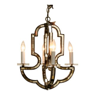 Mirrored Quatrefoil Chandelier For Sale