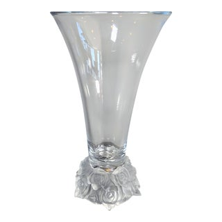 Crystal Vase With Frosted Rose Base For Sale