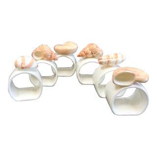 Vintage Porcelain Napkin Rings With Shells - Set of 6